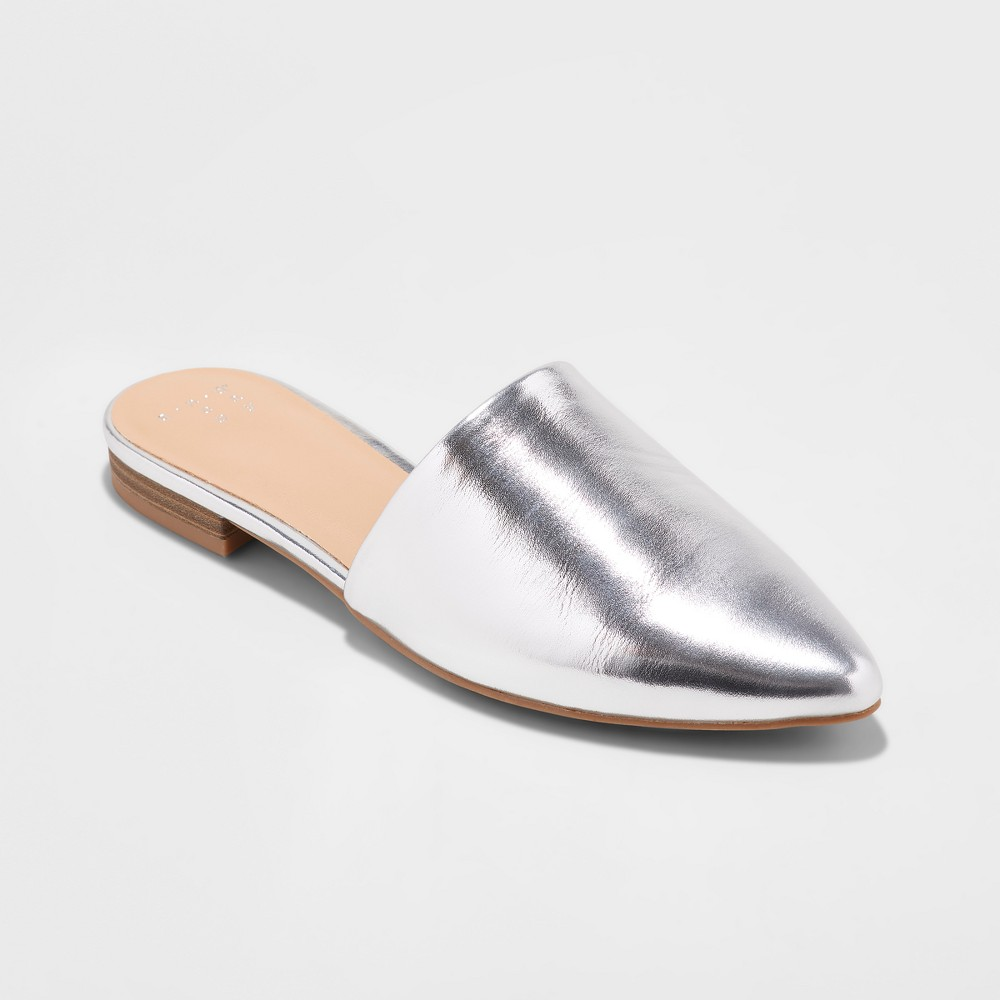 Women's Junebug Mules - A New Day Silver 5