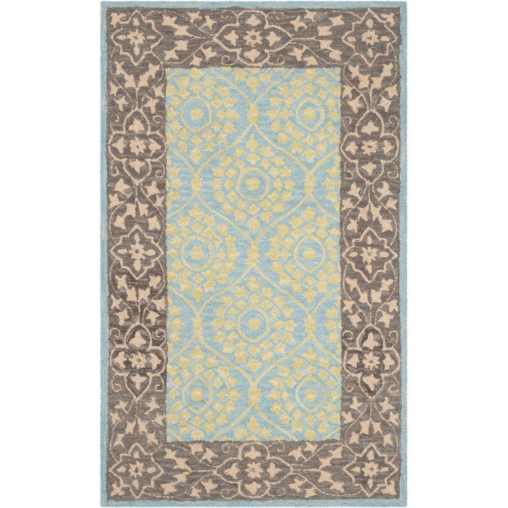 4'X6' Leaf Hooked Area Rug Chocolate/Yellow - Safavieh, Brown