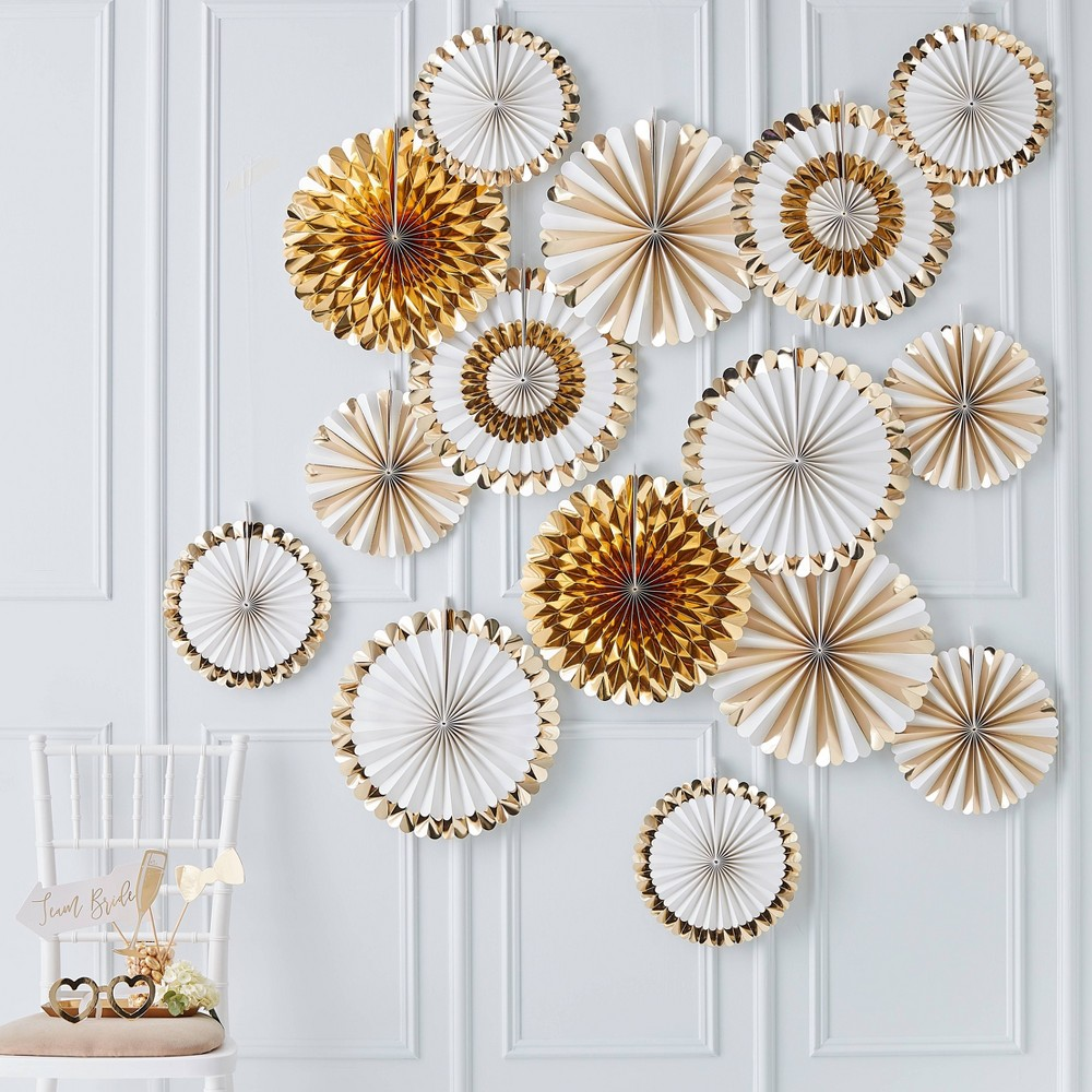 Image of Fan Decorations Backdrop Gold