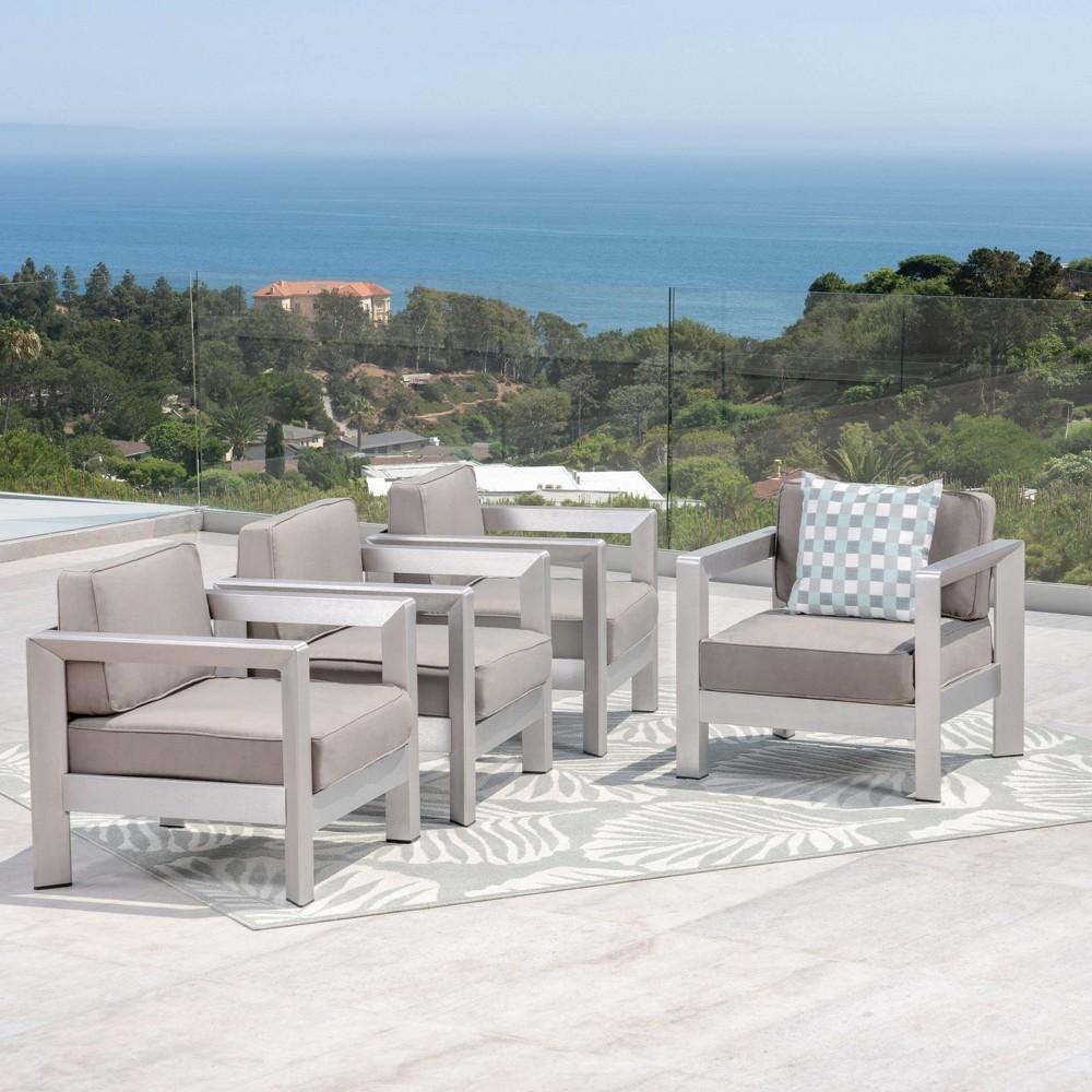Aviara 4pk Aluminum Club Chairs - Silver/Khaki- Christopher Knight Home, Silver/Green