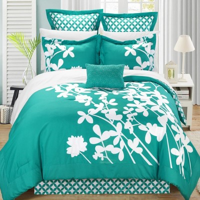 Chic Home Iris Elegant Reversible Turquoise & White Contrast Luxury Comforter Bed In A Bag Set 11 Piece