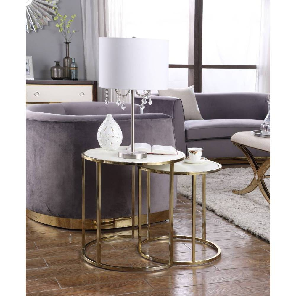 Olivia Side Table Cream - Chic Home Design was $349.99 now $209.99 (40.0% off)