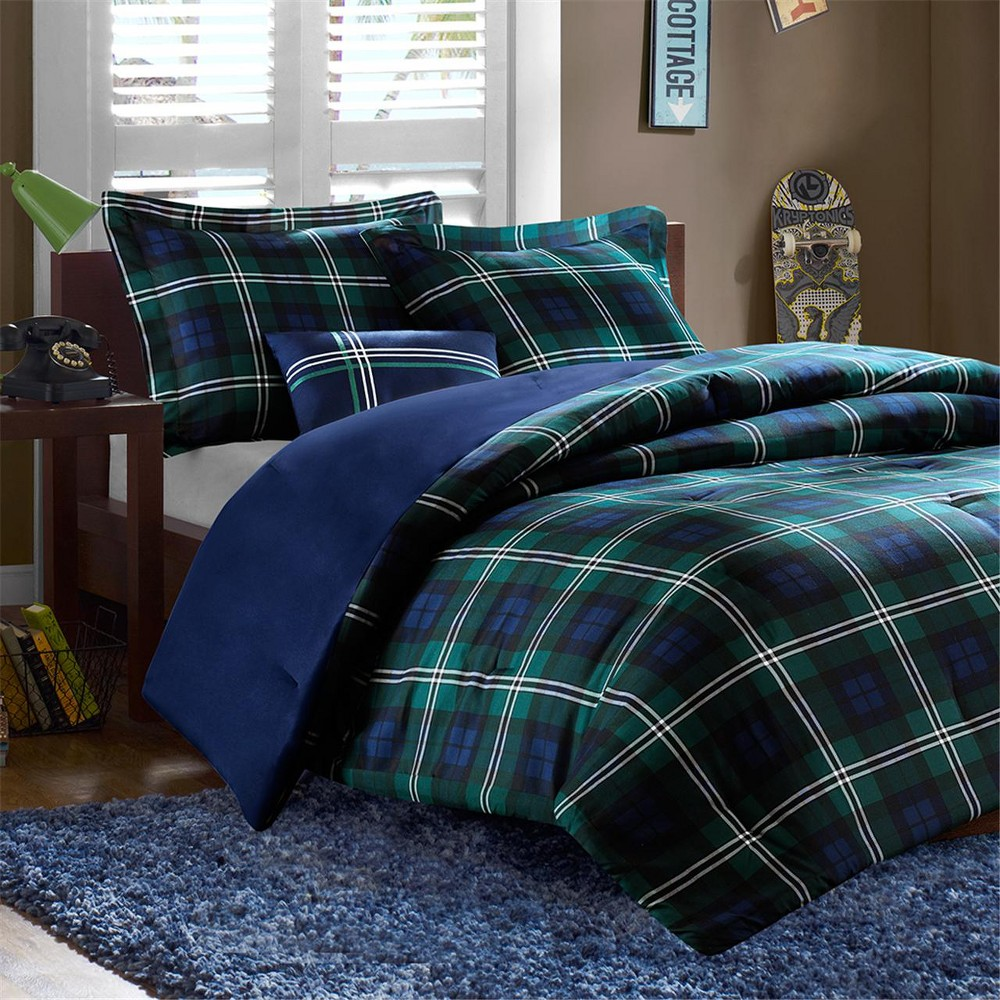 Blue Green Bradley Plaid Comforter Set Full Queen