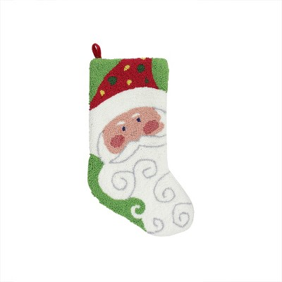 "Gallerie II 21"" Plush Loop Knit and Rosy Cheeked Santa Claus Christmas Stocking"
