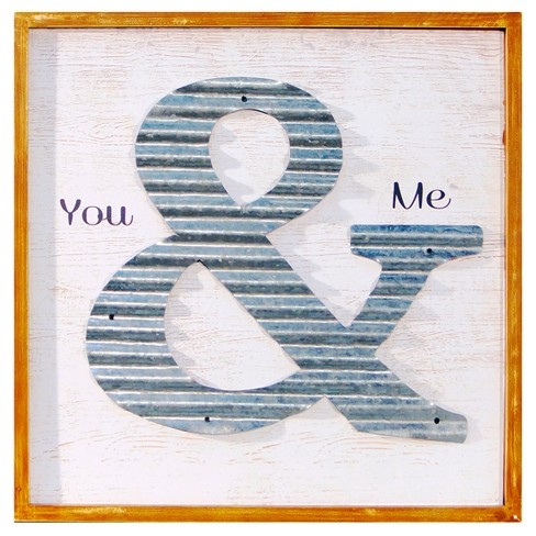 "You & Me Wall Dcor White & Silver (18""x18"") - VIP Home & Garden - image 1 of 2"