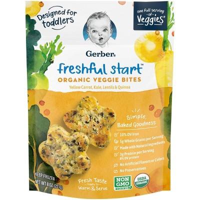 Gerber Freshful Start Frozen Organic Veggie Bites Yellow Carrot, Kale, Lentils & Quinoa - 8oz