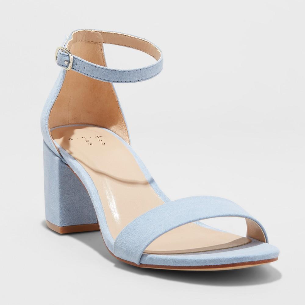 Women's Michaela Wide Width Block Heel Pumps - A New Day Blue 7.5W, Size: 7.5 Wide