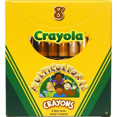 Crayola Multicultural Crayons Large Nontoxic 8/BX Assorted 52080W
