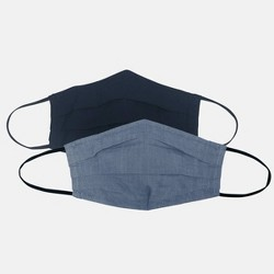 Women's 2pc Fabric Face Masks - Universal Thread™ Navy Solid/Navy Chambray