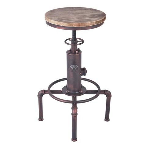Awesome Remy Industrial Adjustable Barstool Copper Armen Living Spiritservingveterans Wood Chair Design Ideas Spiritservingveteransorg