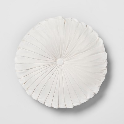 Cream Pleated Velvet Round Throw Pillow - Opalhouse™