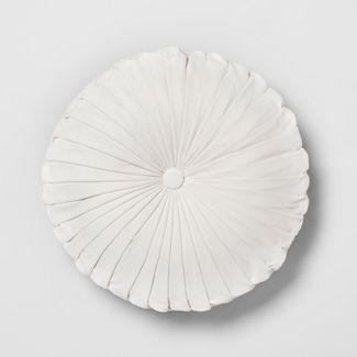 Cream Pleated Velvet Round Throw Pillow - Opalhouse™