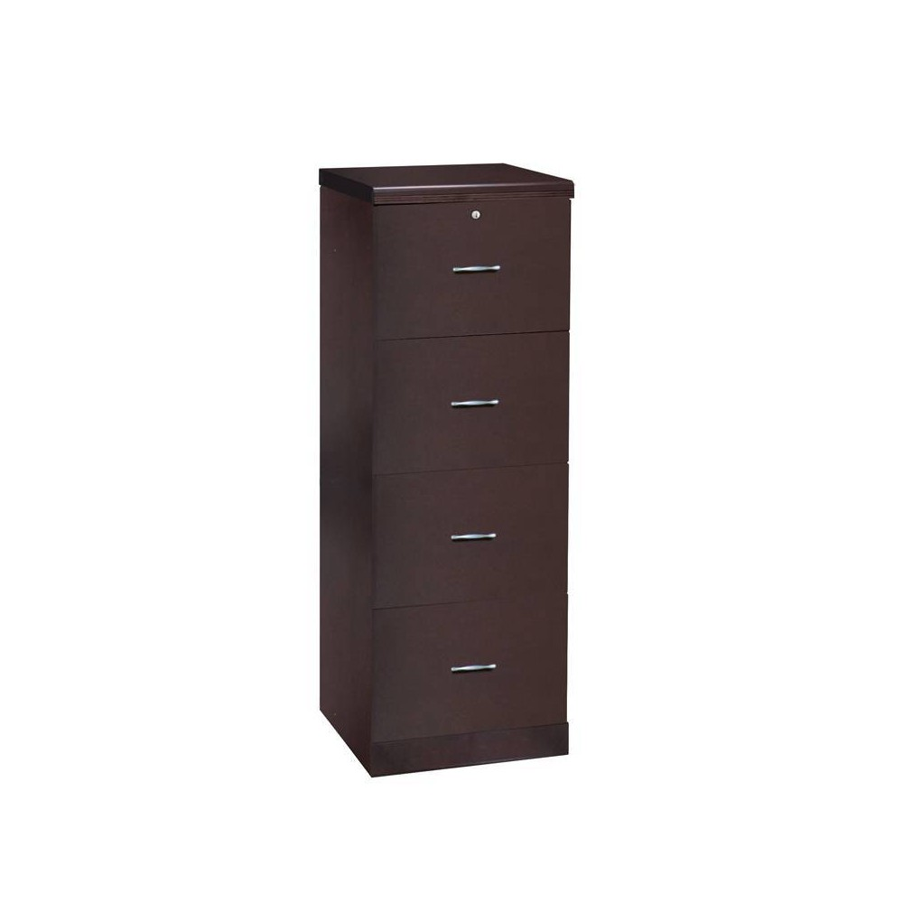 Carson 4 Drawer Vertical Wood Veneer File Cabinet Espresso Brown - Monroe + James