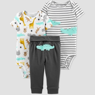 Baby Boys' 3pc Gator Top And Bottom Set - Just One You® made by carter's White/Gray 6M