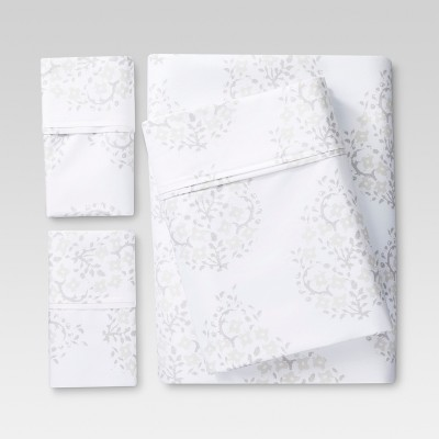 King 400 Thread Count Printed Performance Sheet Set Paisley White - Threshold™