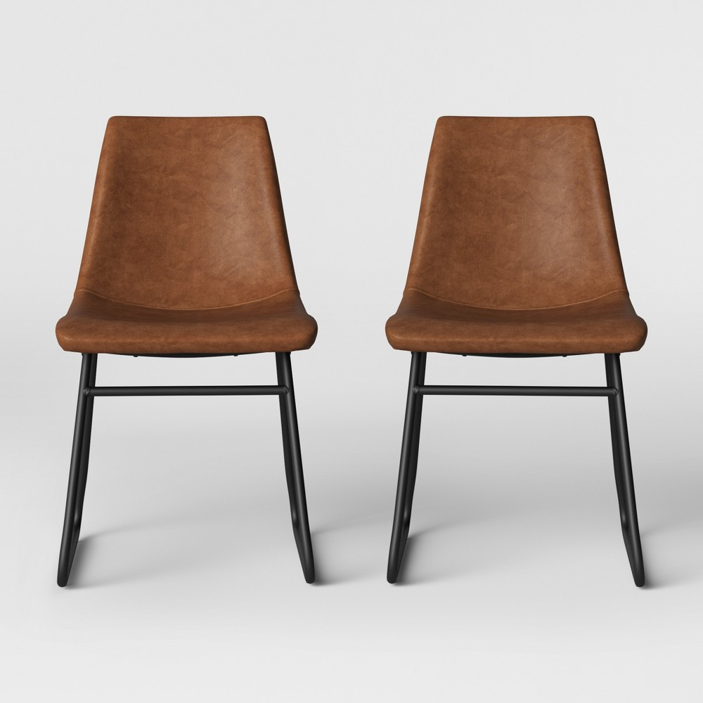 2pk Bowden Faux Leather And Metal Dining Chair With Black Leg Caramel Brown - Project 62