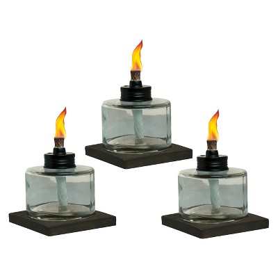 4  3pk Mixed Material Votive Table Torch Brown/Clear - TIKI