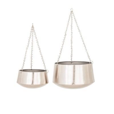 Set of 2 Modern Iron Hanging Round Planters - Olivia & May