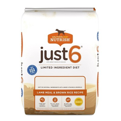 Rachael Ray Nutrish Just 6 Limited Ingredient Diet Lamb Meal & Brown Rice Recipe Adult Dry Dog Food