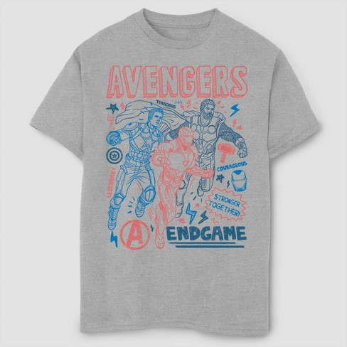 Boys' Marvel Earths Mightiest Doodles Short Sleeve T-Shirt- Athletic Heather - image 1 of 1