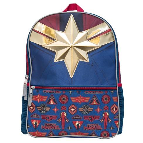 """Marvel Captain Marvel 5"""" Kids' Backpack - Blue/Red - image 1 of 4"""