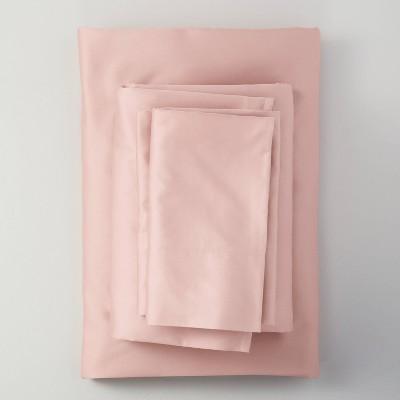 King 500 Thread Count Washed Supima Sateen Solid Sheet Set Blush - Casaluna™
