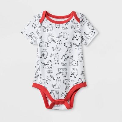 Baby Boys' Stretch Jersey  Tiger  Bodysuit - Cat & Jack™ White 0-3M