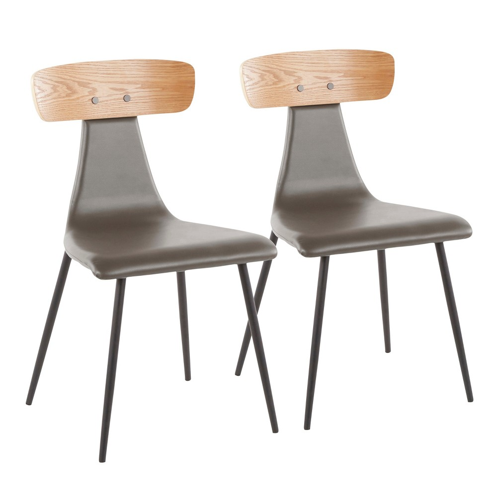 Set of 2 Elio Contemporary Chairs Black/Gray - LumiSource