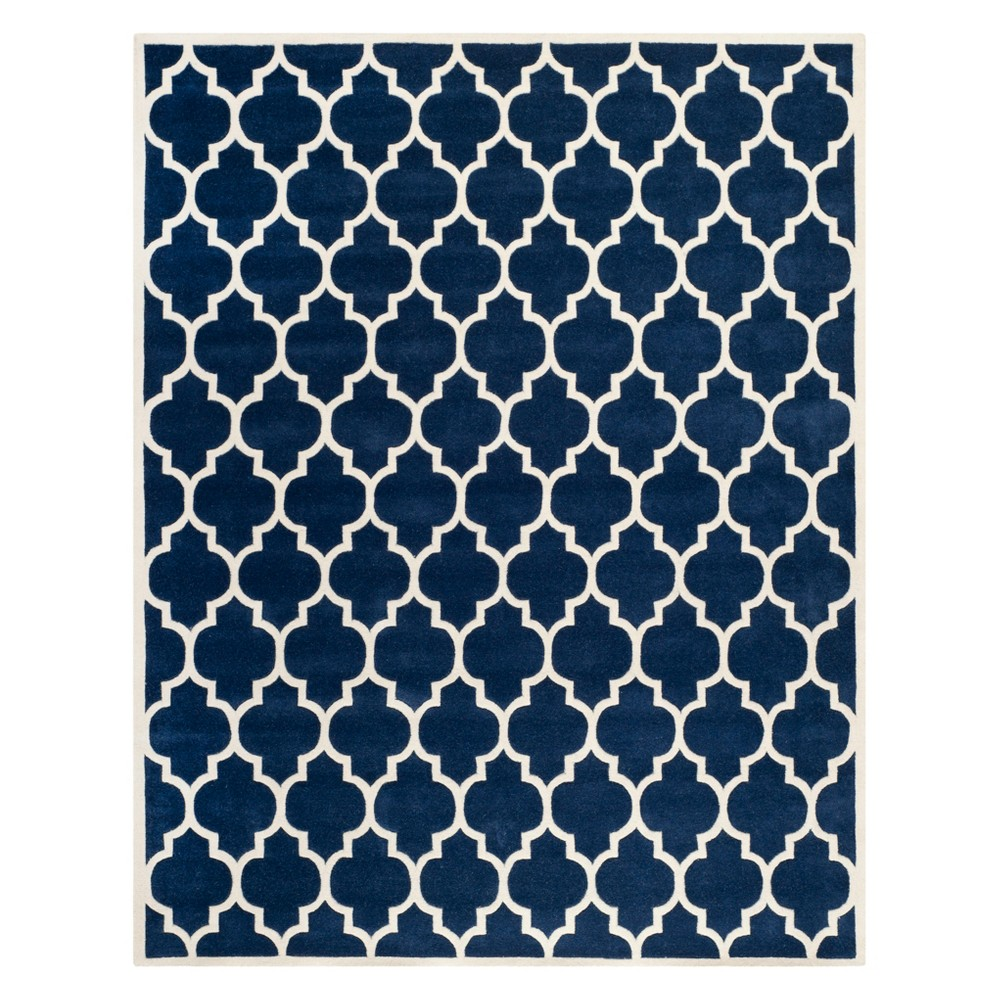 8'X10' Quatrefoil Design Tufted Area Rug Dark Blue/Ivory - Safavieh