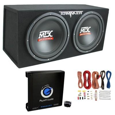 "MTX TNP212D2 12"" 1200 Watt 4 Ohm Dual Loaded Car Audio Subwoofer Package with Sub Enclosure, Planet 1500W Monoblock A/B Amplifier & 8 Gauge Wiring Kit"