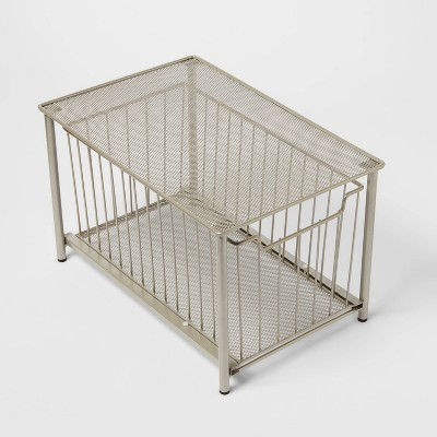 Stackable Slide Out Drawer Organizer Medium Nickel - Threshold™