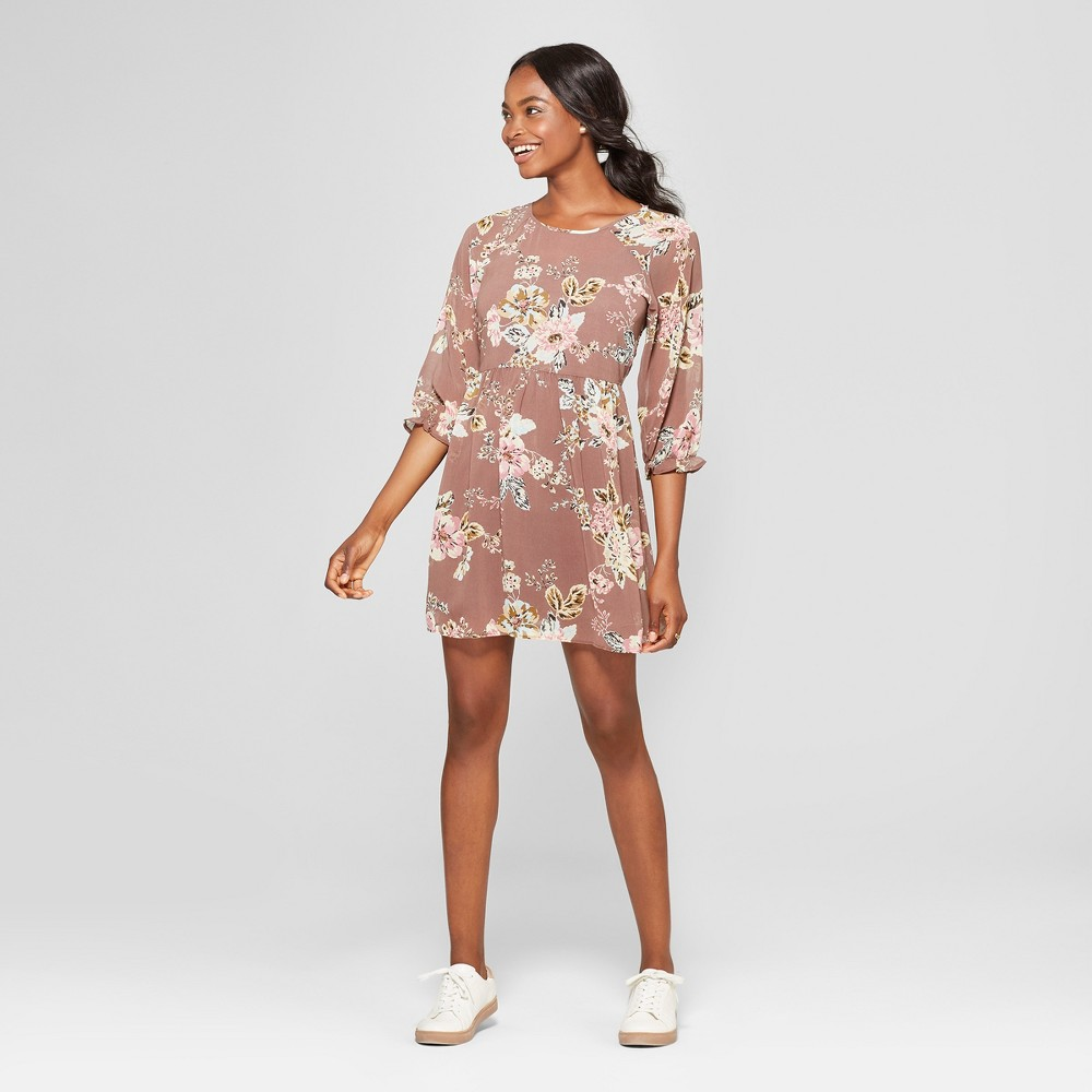 Women's Floral Print Long Sleeve Dress - Lots of Love by Speechless (Juniors') Putty Brown S, Brown/Pink was $32.99 now $14.84 (55.0% off)