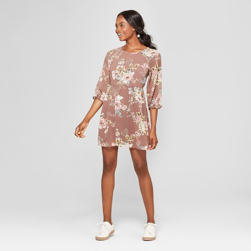 e36811045314 Women s Floral Print Long Sleeve Dress - Lots of Love by Speechless  (Juniors ) Putty Brown