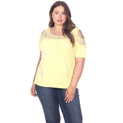Women's Plus Size Cut Out Shoulder Bexley Tunic Top - White Mark