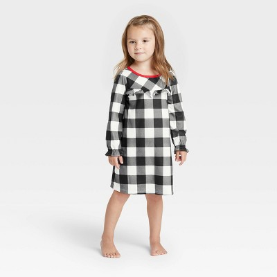 Toddler Holiday Buffalo Check Flannel Matching Family Pajama NightGown - Wondershop™ White