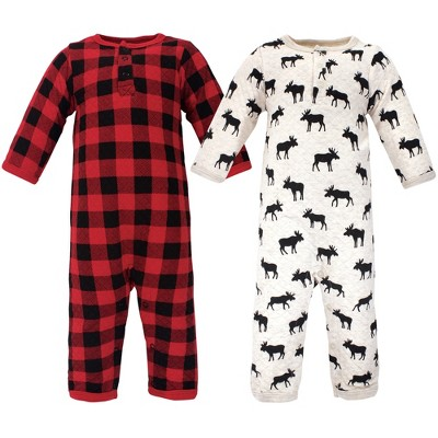 Hudson Baby Infant Boy Premium Quilted Coveralls 2pk, Moose