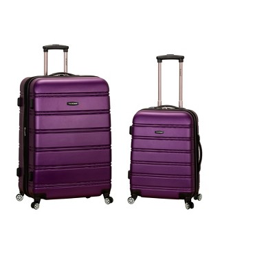 Rockland Melbourne 2pc Expandable ABS Spinner Luggage Set - Purple