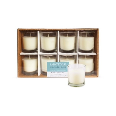 2.5  8pk Unscented Votive Candle Set Cream - Chesapeake Bay Candle