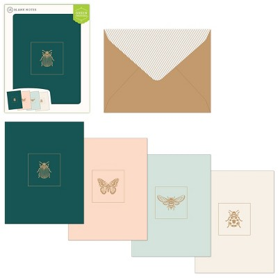 16ct Assorted Blank Note Cards Bugs