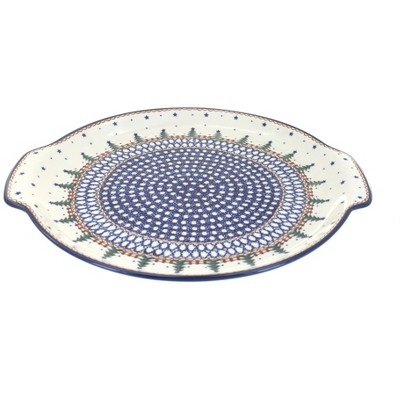 Blue Rose Polish Pottery Rustic Pines Round Serving Tray with Handles