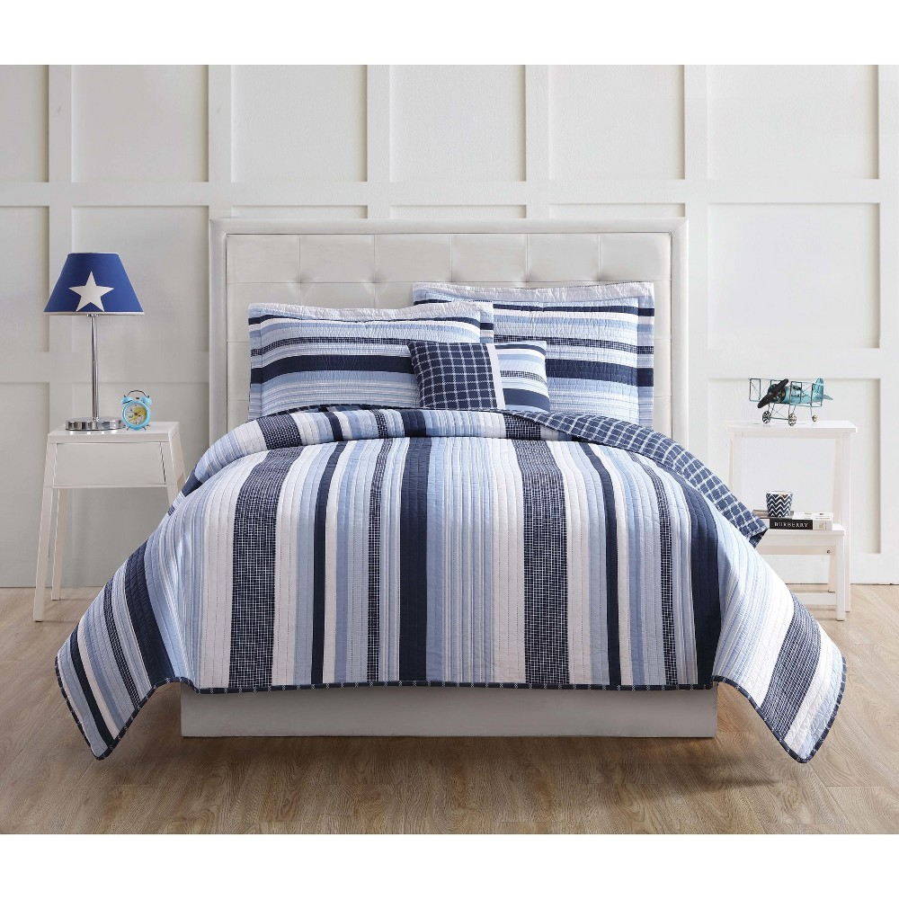 Image of Full/Queen Mason Striped Quilt Set - My World