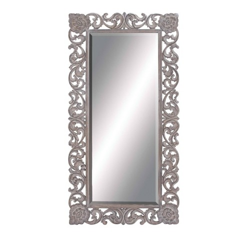 36 X 72 Full Length Rectangular Distressed Wood Carved Frame Wall Mirror Gray Olivia May Target