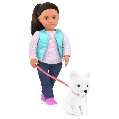 Our Generation Doll & Pet Plush Dog Set - Cassie and Pet Samoyed