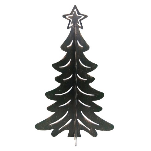 Metal Christmas Tree.Metal Brown Flat Christmas Tree Figurine Wondershop
