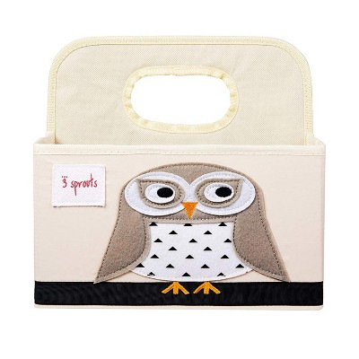 3 Sprouts UDOOWL Stain Resistant Polyester Divided Portable Nursery Supply Diaper Organizer Caddy with Brown Owl Design and Top Carry Handle