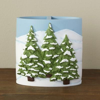 Lakeside Christmas Winter Evergreen Tree Bathroom Countertop Toothbrush Holder
