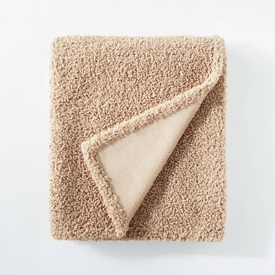 "50""x60"" Boucle Throw Blanket with Plush Reverse Beige - Threshold™ designed with Studio McGee"