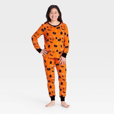 Women's Halloween Spooky Print Matching Family Pajama Set - Orange