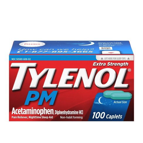 Tylenol PM Extra Strength Pain Reliever & Sleep Aid Caplets - Acetaminophen - 100ct - image 1 of 4