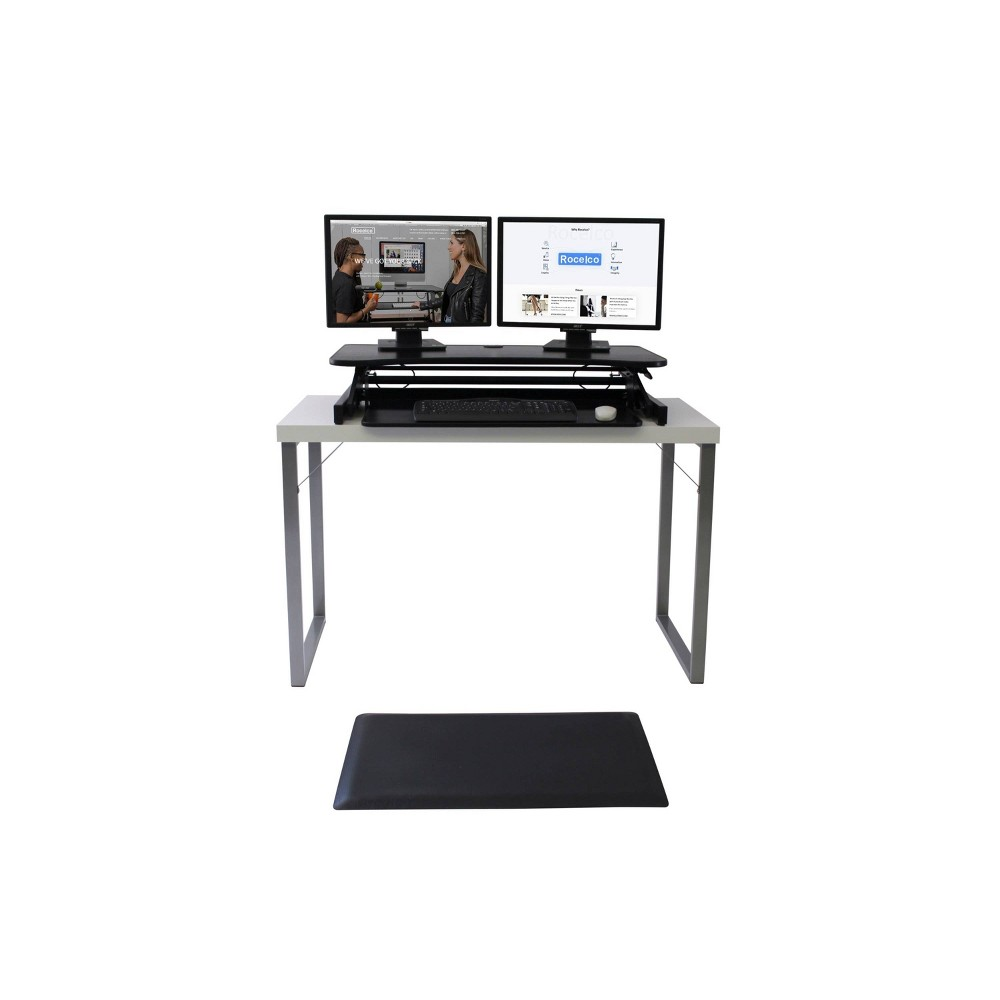 Deluxe Height Adjustable Computer Riser with Mat Rocelco